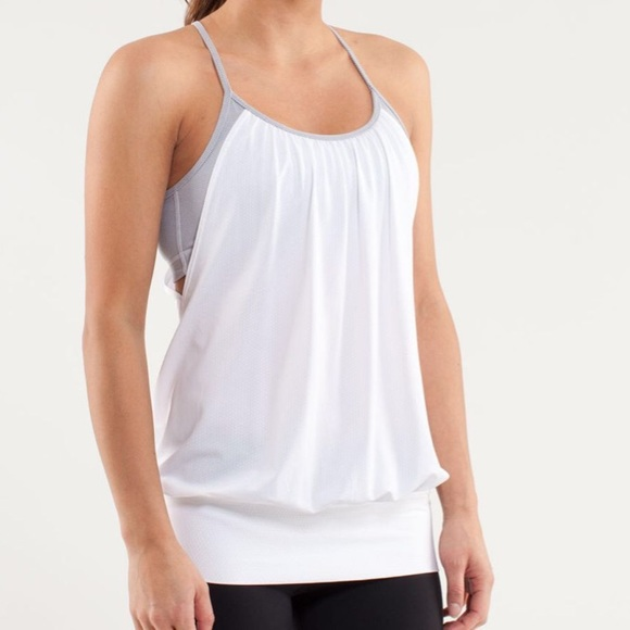 lululemon athletica Tops - LULULEMON NO LIMITS TANK White / Wee Stripe Fossil
